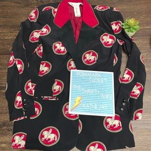 Sunny Leigh 1990s Equestrian 100% Silk Blazer